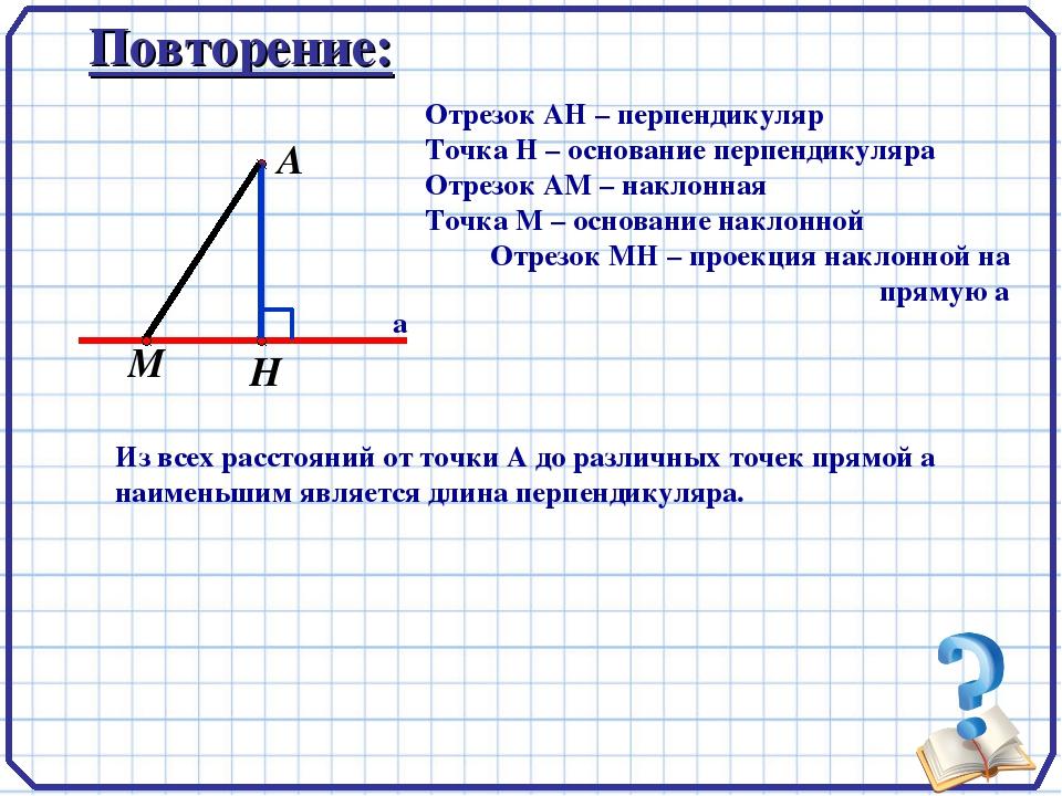 А а Повторение: Отрезок АН – перпендикуляр Точка Н – основание перпендикуляра...