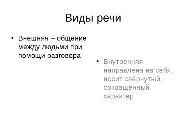 Виды речи Внешняя – общение между людьми при помощи разговора Внутренняя – на...
