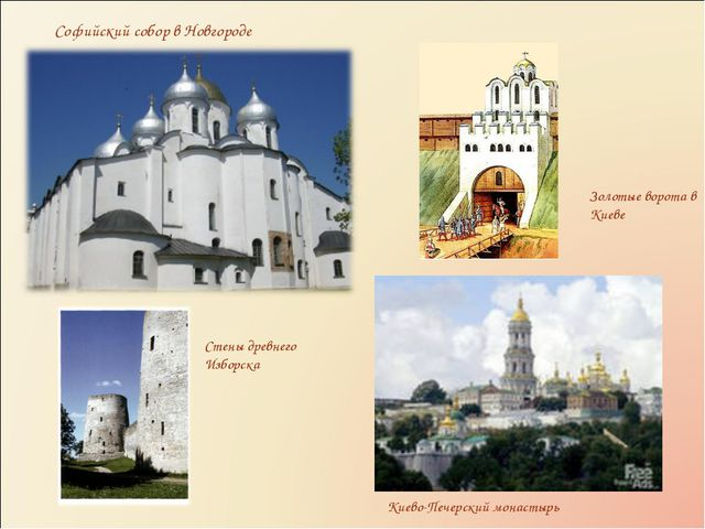 Софийский собор в Новгороде Киево-Печерский монастырь Золотые ворота в Киеве...
