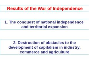 Results of the War of Independence The conquest of national independence and