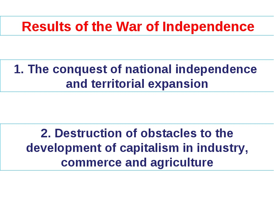 Results of the War of Independence The conquest of national independence and...