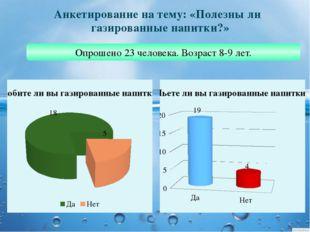 Анкетирование на тему: «Полезны ли газированные напитки?» Опрошено 23 человек