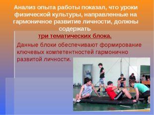 Анализ опыта работы показал, что уроки физической культуры, направленные на г