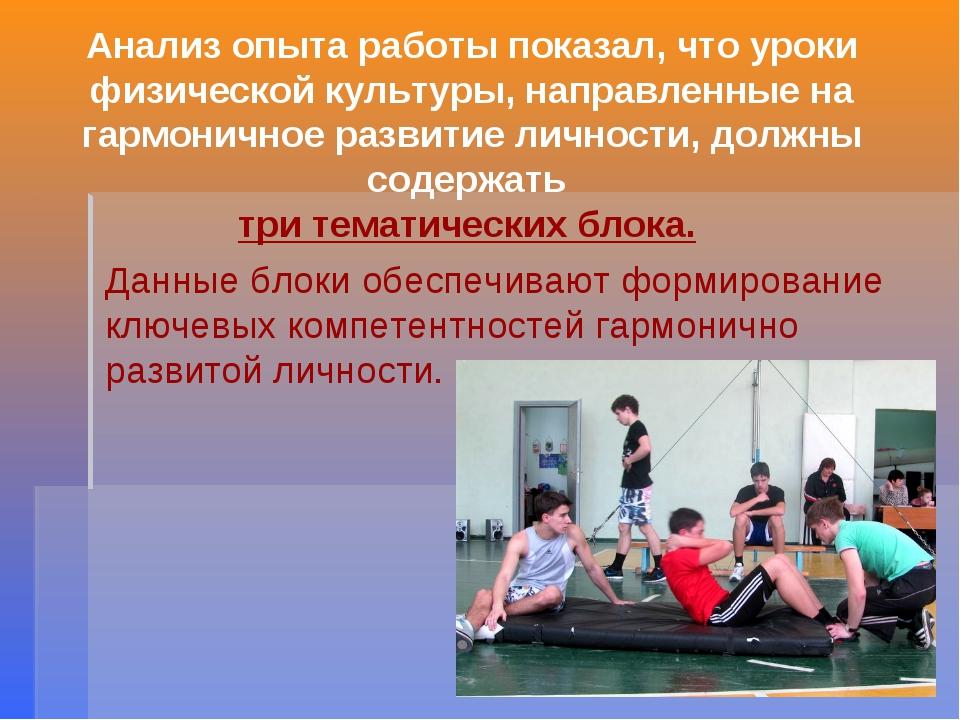 Анализ опыта работы показал, что уроки физической культуры, направленные на г...