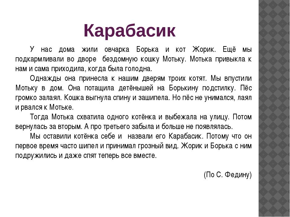 Карабасик У нас дома жили овчарка Борька и кот Жорик. Ещё мы подкармливали во...