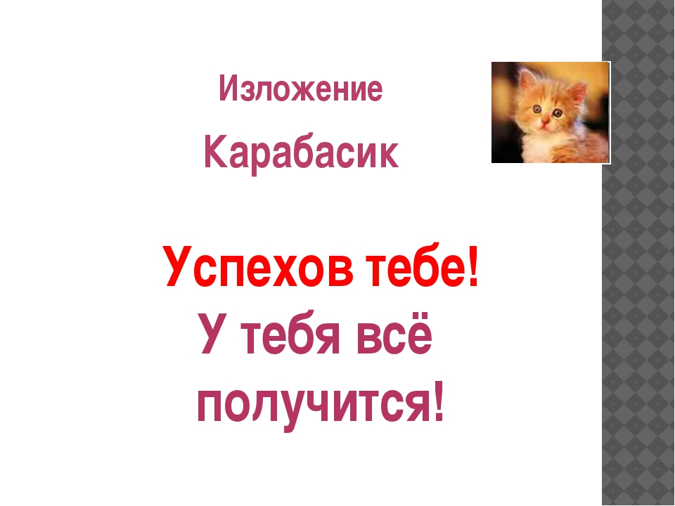 Изложение Карабасик Успехов тебе! У тебя всё получится!