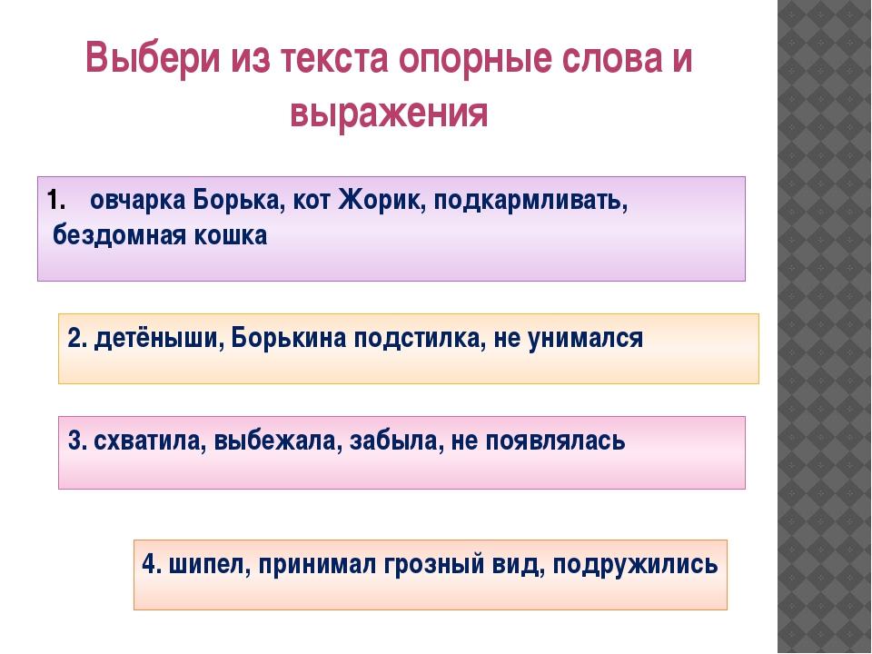 Выбери из текста опорные слова и выражения овчарка Борька, кот Жорик, подкарм...