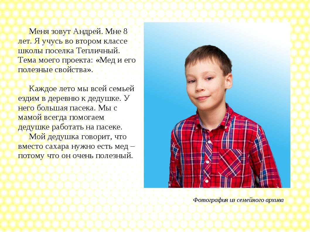 Меня зовут Андрей. Мне 8 лет. Я учусь во втором классе школы поселка Тепличн...