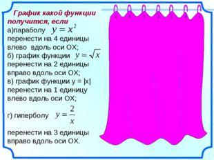 График какой функции получится, если а)параболу перенести на 4 единицы влево