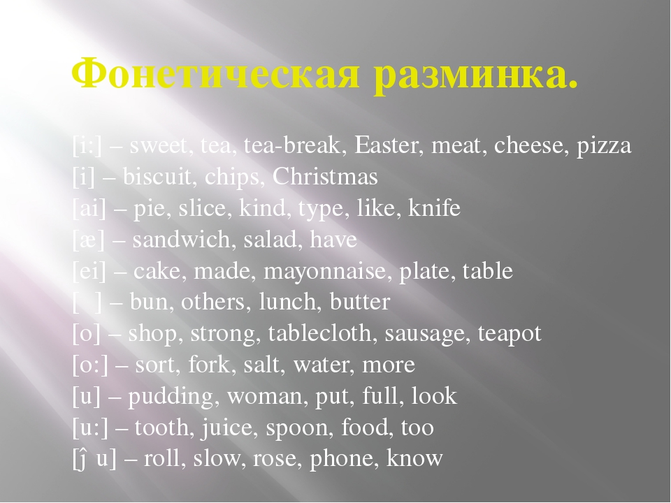Фонетическая разминка. [i:] – sweet, tea, tea-break, Easter, meat, cheese, pi...