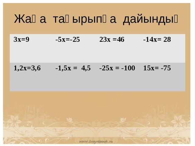 Жаңа тақырыпқа дайындық 3x=9 -5x=-25 23x =46 -14x= 28 1,2x=3,6 -1,5x = 4,...