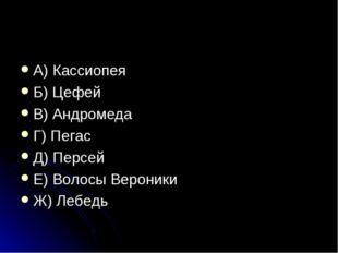 А) Кассиопея Б) Цефей В) Андромеда Г) Пегас Д) Персей Е) Волосы Вероники Ж) Л
