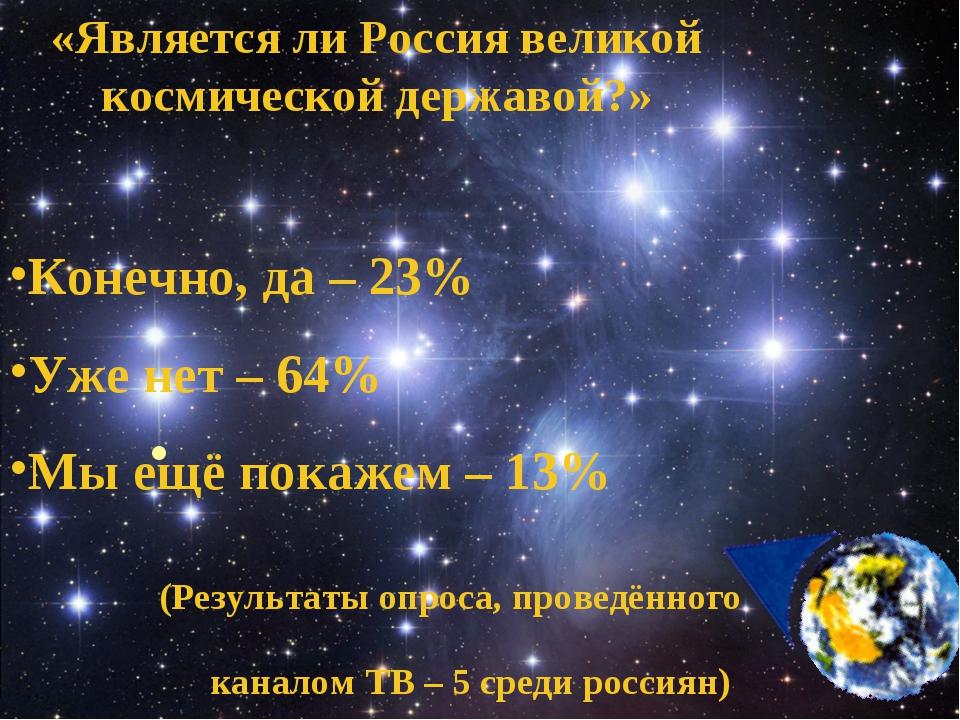«Является ли Россия великой космической державой?» Конечно, да – 23% Уже нет...
