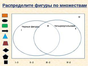 Черные фигуры Четырехугольники I II III IV Распределите фигуры по множествам
