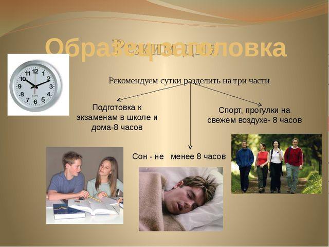 Рекомендуем сутки разделить на три части Подготовка к экзаменам в школе и до...