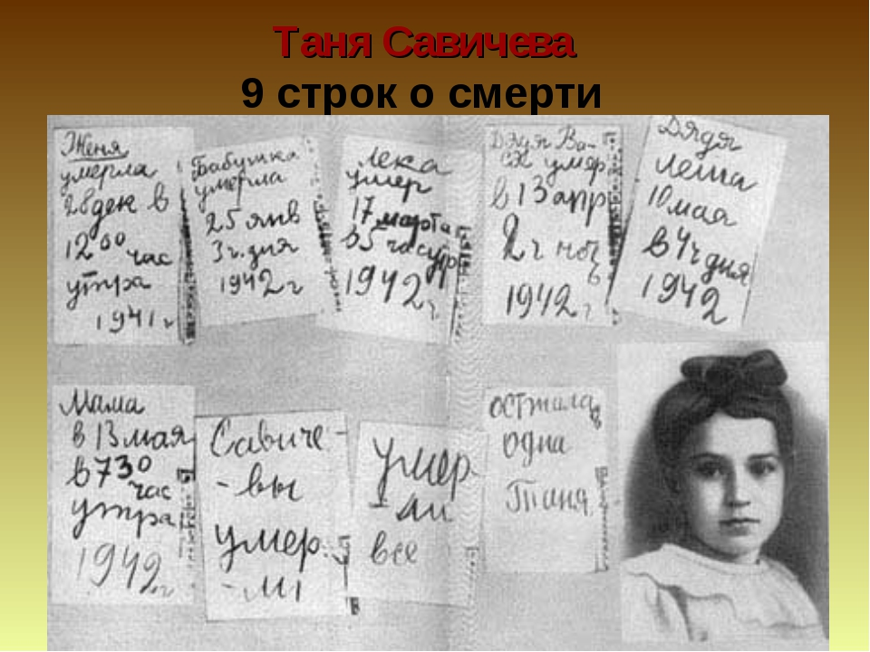 Таня Савичева 9 строк о смерти