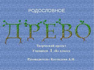 Творческий проект Учащихся 1 «В» класса Руководитель: Костылева А.Н. РОДОСЛОВ