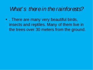 What's there in the rainforests? . There are many very beautiful birds, insec
