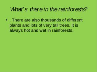 What's there in the rainforests? . There are also thousands of different plan