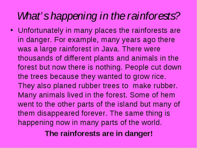 What's happening in the rainforests? Unfortunately in many places the rainfor...