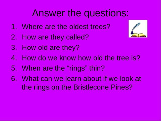 Answer the questions: Where are the oldest trees? How are they called? How ol...
