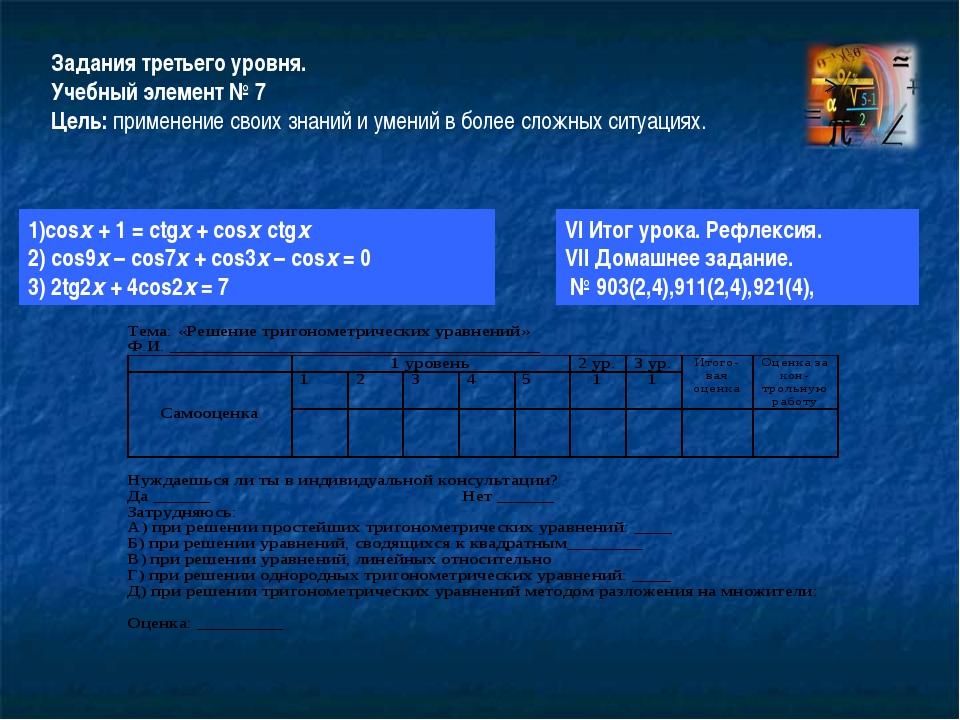 Задания третьего уровня. Учебный элемент № 7 Цель: применение своих знаний и...