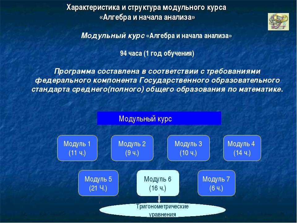 Характеристика и структура модульного курса «Алгебра и начала анализа» Модуль...