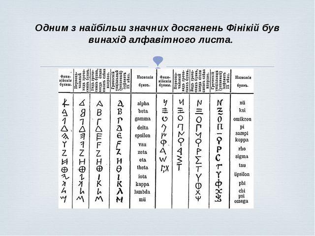 Одним з найбільш значних досягнень Фінікій був винахід алфавітного листа. 