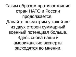 Таким образом противостояние стран НАТО и России продолжается. Давайте посмот