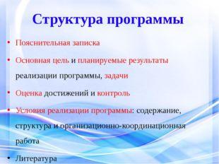 Структура программы Пояснительная записка Основная цель и планируемые результ