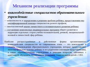 Механизм реализации программы взаимодействие специалистов образовательного уч