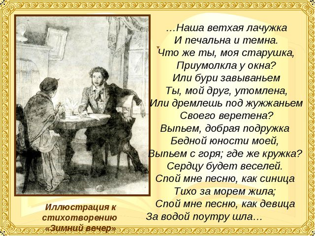 Иллюстрация к стихотворению «Зимний вечер» …Наша ветхая лачужка И печальна и...