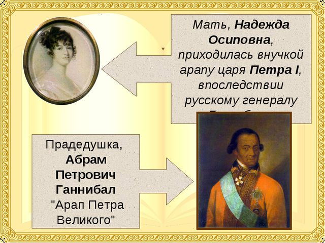 Мать, Надежда Осиповна, приходилась внучкой арапу царя Петра I, впоследствии...