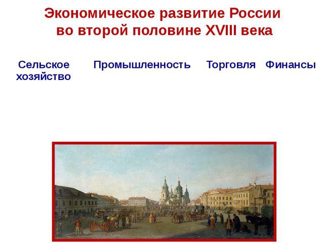 Экономическое развитие России во второй половине XVIII века Сельскоехозяйство...