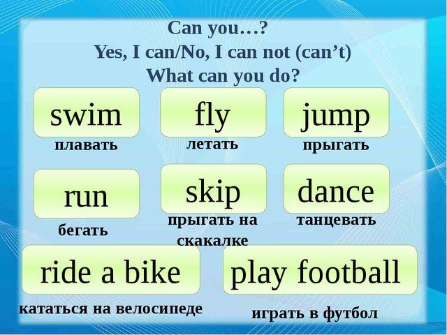 Can you…? Yes, I can/No, I can not (can't) What can you do? swim fly jump run...