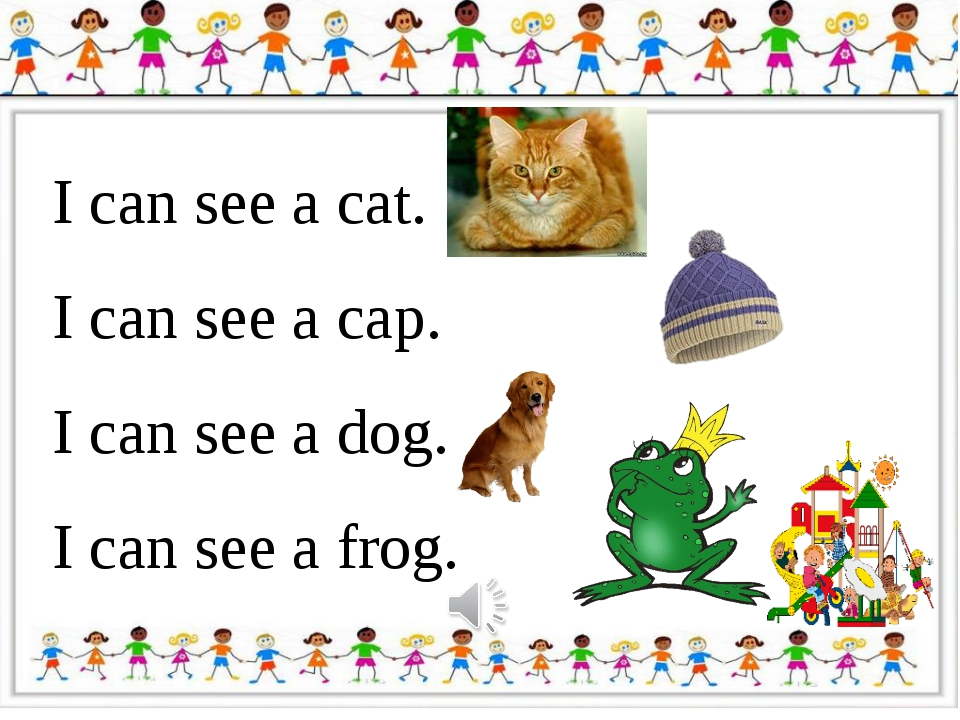 I can see a cat. I can see a cap. I can see a dog. I can see a frog.
