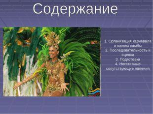 1. Организация карнавала и школы самбы 2. Последовательность и оценки 3. Подг