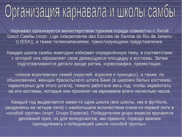 Карнавал организуется министерством туризма города совместно с Лигой Школ Сам...
