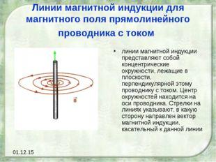 Линии магнитной индукции для магнитного поля прямолинейного проводника с токо