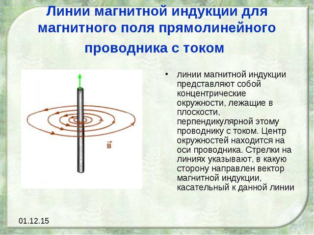 Линии магнитной индукции для магнитного поля прямолинейного проводника с токо...