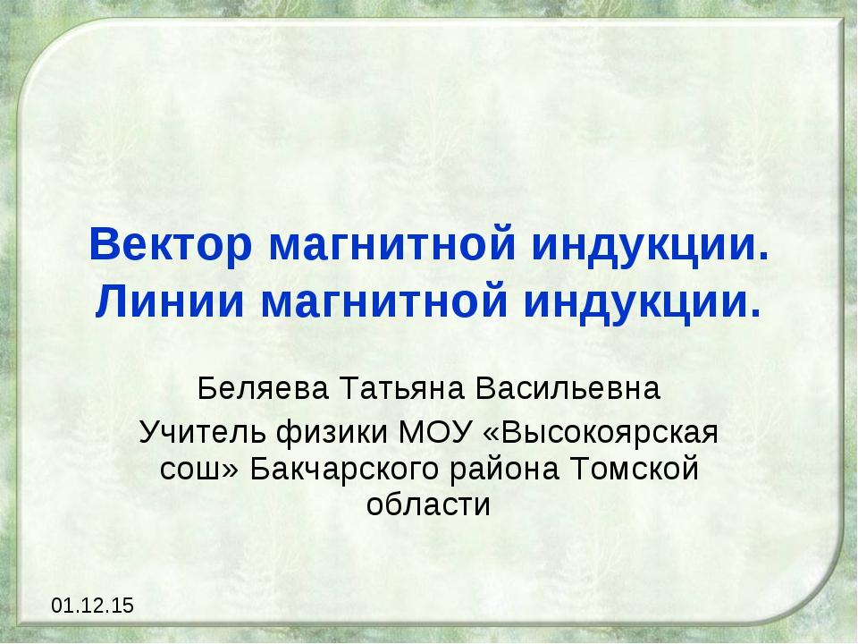 Вектор магнитной индукции. Линии магнитной индукции. Беляева Татьяна Васильев...