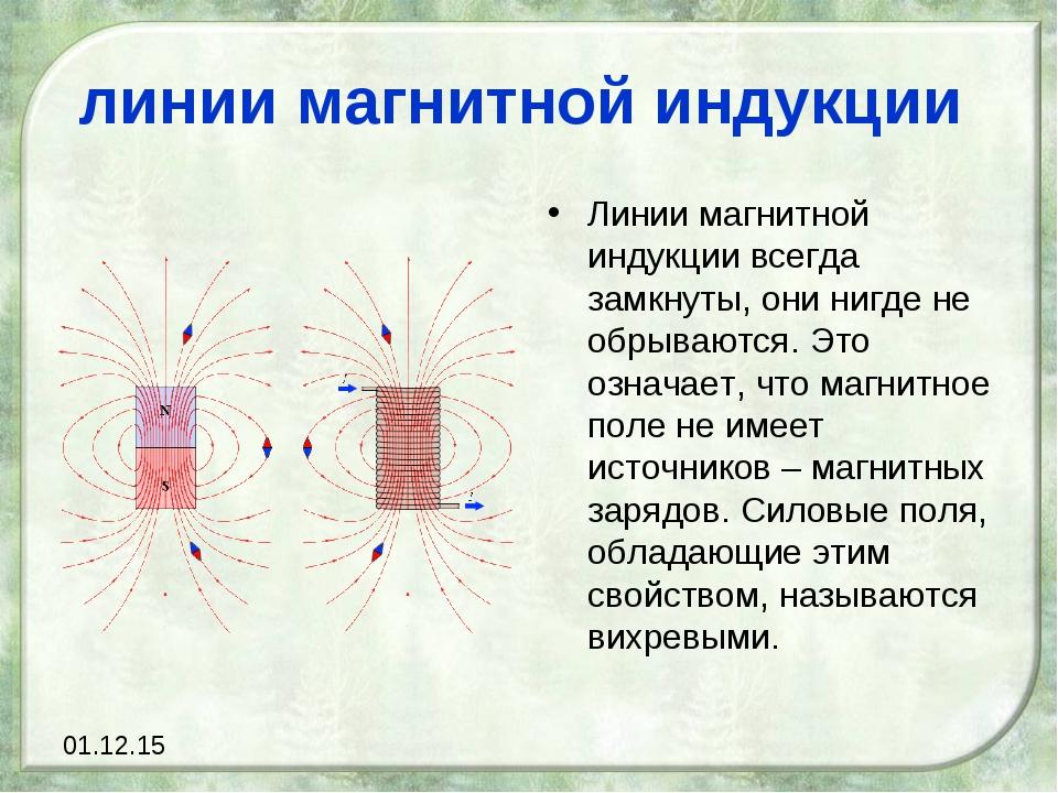 линии магнитной индукции Линии магнитной индукции всегда замкнуты, они нигде...
