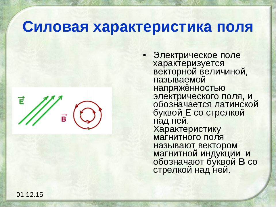 Силовая характеристика поля Электрическое поле характеризуется векторной вели...