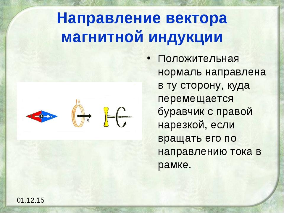 Направление вектора магнитной индукции Положительная нормаль направлена в ту...