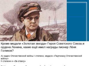 Кроме медали «Золотая звезда» Героя Советского Союза и ордена Ленина, какие е