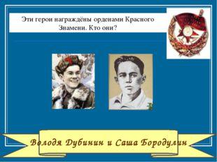 Володя Дубинин и Саша Бородулин Эти герои награждёны орденами Красного Знамен