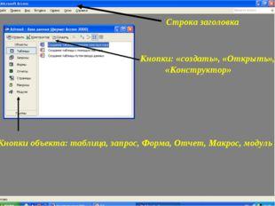 Строка заголовка Кнопки: «создать», «Открыть», «Конструктор» Кнопки объекта: