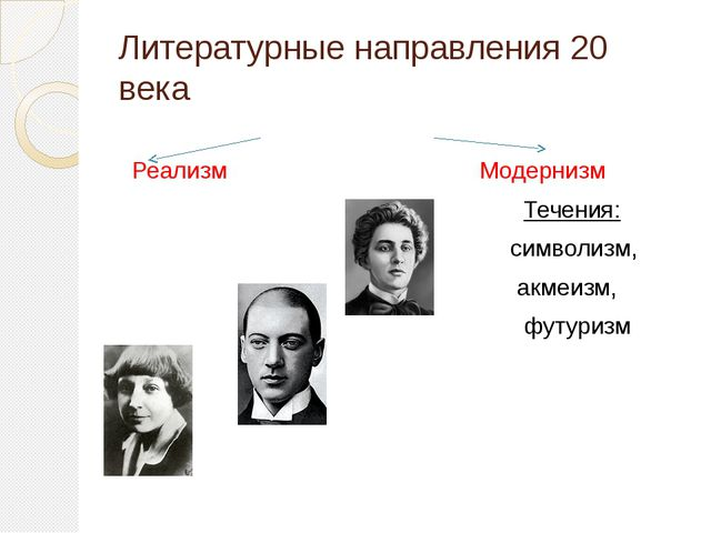 Литературные направления 20 века Реализм Модернизм Течения: символизм, акмеиз...