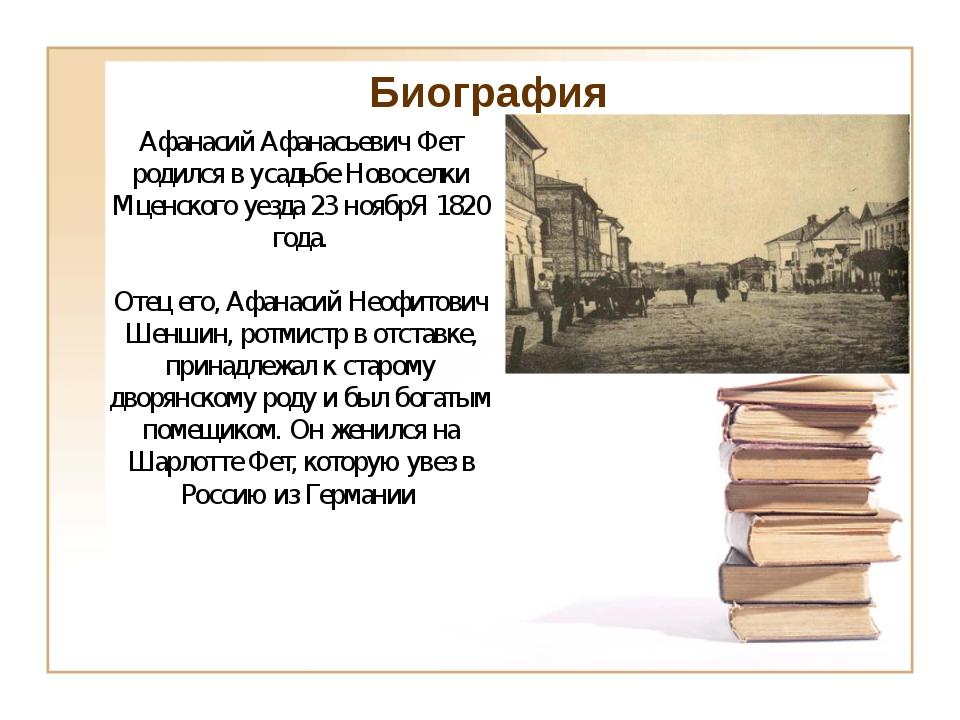 Биография Афанасий Афанасьевич Фет родился в усадьбе Новоселки Мценского уез...