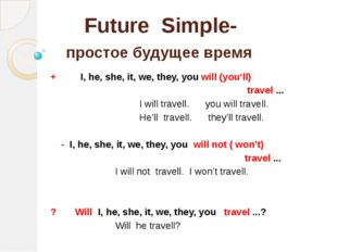 Future Simple- простое будущее время + I, he, she, it, we, they, you will (yo